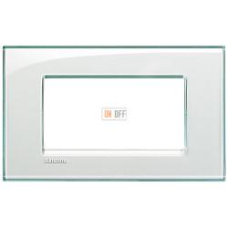 Рамка итальянский стандарт 4 мод прямоугольная, цвет Морская вода, LivingLight, Bticino