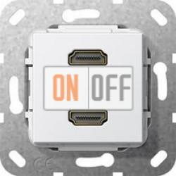 Розетка HDMI 2-ая (разветвительный кабель), цвет Белый, Gira