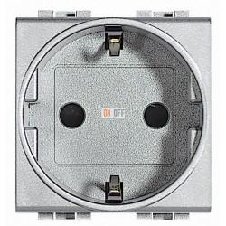 Розетка 1-ая электрическая , с заземлением (безвинтовой зажим), цвет Алюминий, LivingLight, Bticino