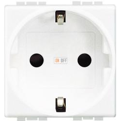 Розетка 1-ая электрическая , с заземлением (безвинтовой зажим), цвет Белый, LivingLight, Bticino
