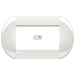 Рамка итальянский стандарт 4 мод овальная, цвет Белый, LivingLight, Bticino