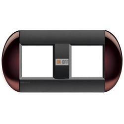 Рамка 2-ая (двойная) овальная, цвет Бордовый, LivingLight, Bticino