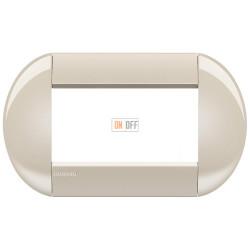 Рамка итальянский стандарт 4 мод овальная, цвет Кремовый, LivingLight, Bticino