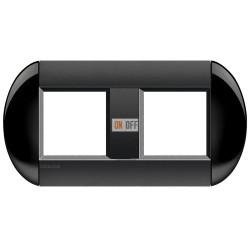 Рамка 2-ая (двойная) овальная, цвет Черный, LivingLight, Bticino