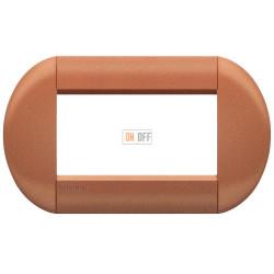 Рамка итальянский стандарт 4 мод овальная, цвет Сиена, LivingLight, Bticino