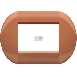 Рамка итальянский стандарт 3 мод овальная, цвет Сиена, LivingLight, Bticino