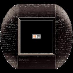 Рамка 1-ая (одинарная) овальная, цвет Дерево Дуб (темный), LivingLight, Bticino