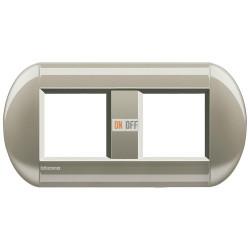 Рамка 2-ая (двойная) овальная, цвет Титан, LivingLight, Bticino