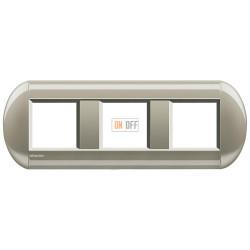 Рамка 3-ая (тройная) овальная, цвет Титан, LivingLight, Bticino