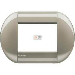 Рамка итальянский стандарт 3 мод овальная, цвет Титан, LivingLight, Bticino