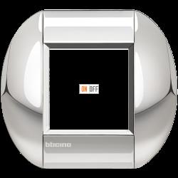 Рамка 1-ая (одинарная) овальная, цвет Хром, LivingLight, Bticino