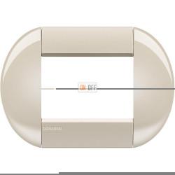 Рамка итальянский стандарт 3 мод овальная, цвет Кремовый, LivingLight, Bticino