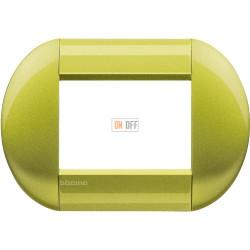 Рамка итальянский стандарт 3 мод овальная, цвет Лимон, LivingLight, Bticino