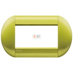 Рамка итальянский стандарт 4 мод овальная, цвет Лимон, LivingLight, Bticino