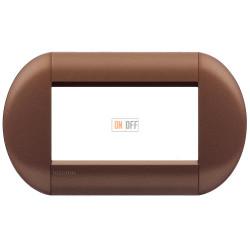 Рамка итальянский стандарт 4 мод овальная, цвет Марракеш, LivingLight, Bticino