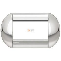 Рамка итальянский стандарт 4 мод овальная, цвет Хром, LivingLight, Bticino