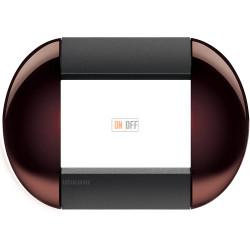 Рамка итальянский стандарт 3 мод овальная, цвет Бордовый, LivingLight, Bticino