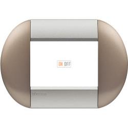 Рамка итальянский стандарт 3 мод овальная, цвет Бронзовый, LivingLight, Bticino