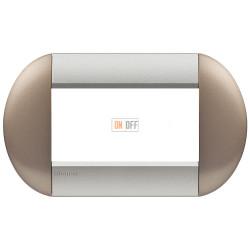 Рамка итальянский стандарт 4 мод овальная, цвет Бронзовый, LivingLight, Bticino