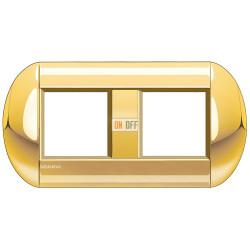 Рамка 2-ая (двойная) овальная, цвет Золото, LivingLight, Bticino