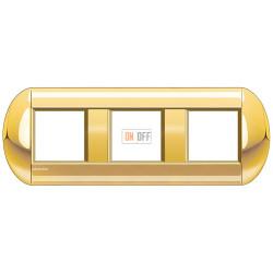 Рамка 3-ая (тройная) овальная, цвет Золото, LivingLight, Bticino