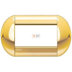 Рамка итальянский стандарт 4 мод овальная, цвет Золото, LivingLight, Bticino