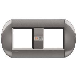 Рамка 2-ая (двойная) овальная, цвет Серый, LivingLight, Bticino