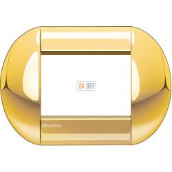 Рамка итальянский стандарт 3 мод овальная, цвет Золото, LivingLight, Bticino
