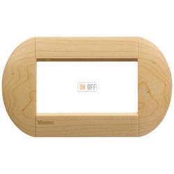 Рамка итальянский стандарт 4 мод овальная, цвет Дерево Клен, LivingLight, Bticino