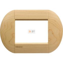 Рамка итальянский стандарт 3 мод овальная, цвет Дерево Клен, LivingLight, Bticino