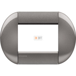 Рамка итальянский стандарт 3 мод овальная, цвет Серый, LivingLight, Bticino
