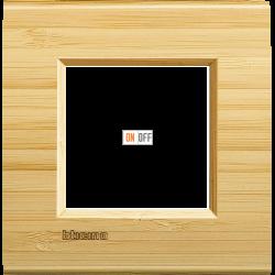 Рамка 1-ая (одинарная) прямоугольная, цвет Дерево Бамбук, LivingLight, Bticino