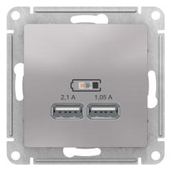 Розетка USB 2-ая 2100 мА (для подзарядки), Алюминий, серия Atlas Design, Schneider Electric