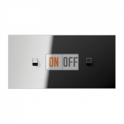Выключатель 1-кл перекр. + Выключатель 1-кл перекр. (тумблер-куб) гориз, цвет Хром, LS1912