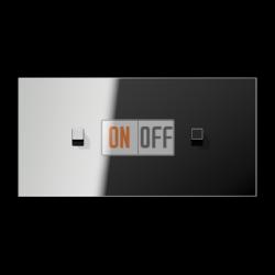 Выключатель 1-кл кноп. НО + Выключатель 1-кл кноп. НО (тумблер-куб) гориз, цвет Хром, LS1912