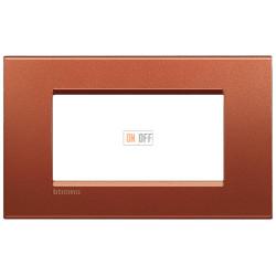 Рамка итальянский стандарт 4 мод прямоугольная, цвет Красный шелк, LivingLight, Bticino