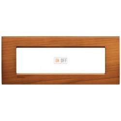 Рамка итальянский стандарт 7 мод прямоугольная, цвет Дерево Вишня (американская), LivingLight, Bticino