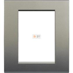 Рамка итальянский стандарт 3+3 мод прямоугольная, цвет Серый шелк, LivingLight, Bticino
