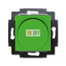 Диммер поворотно-нажимной , 600Вт для ламп накаливания, цвет Зеленый/Дымчатый черный, Levit, ABB