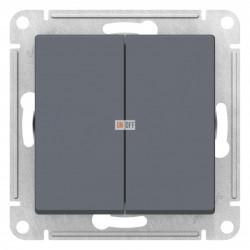 Выключатель 2-клавишный проходной (с двух мест), Грифель, серия Atlas Design, Schneider Electric