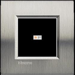 Рамка 1-ая (одинарная) прямоугольная, цвет Сталь Фактурная, LivingLight, Bticino