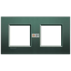 Рамка 2-ая (двойная) прямоугольная, цвет Зеленый шелк, LivingLight, Bticino