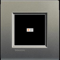 Рамка 1-ая (одинарная) прямоугольная, цвет Серый шелк, LivingLight, Bticino