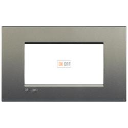 Рамка итальянский стандарт 4 мод прямоугольная, цвет Серый шелк, LivingLight, Bticino
