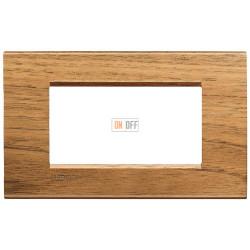 Рамка итальянский стандарт 4 мод прямоугольная, цвет Дерево Орех (европейский), LivingLight, Bticino