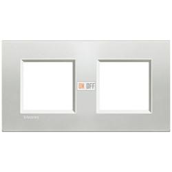 Рамка 2-ая (двойная) прямоугольная, цвет Серебро, LivingLight, Bticino