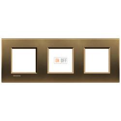 Рамка 3-ая (тройная) прямоугольная, цвет Бронза, LivingLight, Bticino