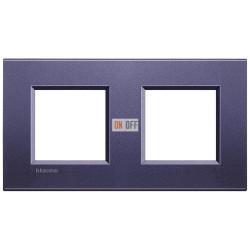 Рамка 2-ая (двойная) прямоугольная, цвет Синий шелк, LivingLight, Bticino