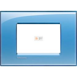 Рамка итальянский стандарт 3 мод прямоугольная, цвет Голубой, LivingLight, Bticino