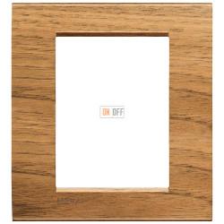 Рамка итальянский стандарт 3 мод прямоугольная, цвет Дерево Орех (европейский), LivingLight, Bticino